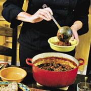 Sandy's five-star mild beef chili with bean medley
