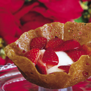 Ginger orange tuile cup with orange-kissed strawberries