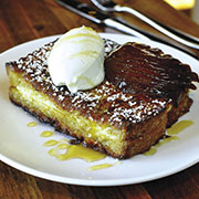 Ricotta-stuffed French toast with pears and chestnut honey