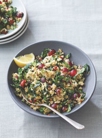 Kale quinoa salad with red grapes