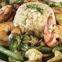 California Grill prawn and vegetable stir-fry