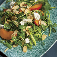 Pea shoot salad with apricots