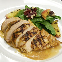 Peach barbecue chicken, spinach and red walnut salad