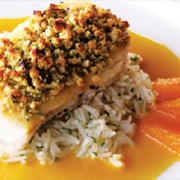 Almond crusted halibut with pineapple orange sauce